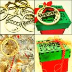 set božićnih kuglica s imenom